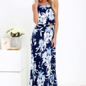 Lulus floral two piece maxi dress